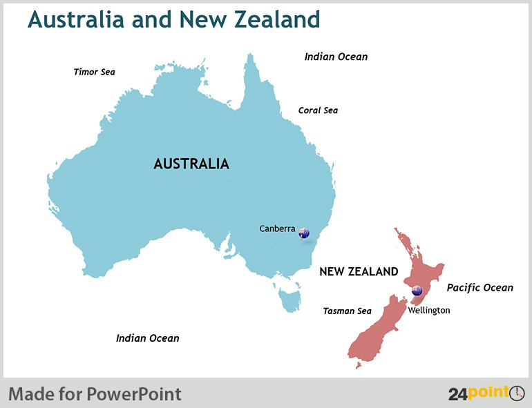 New Zealand Australia Map.Map Of Australia And New Zealand States And Major Cities Editable
