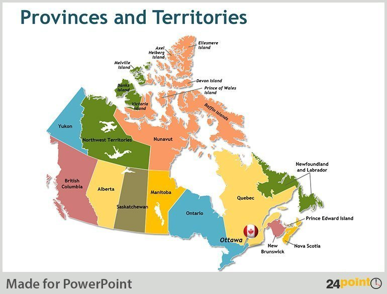 Map Of Canada With Provinces And Major Cities Powerpoint Slides