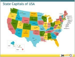 Editable USA Map with State Capitals for PPTs