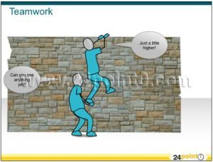 Teamwork PowerPoint graphic - project team illustration - editable PPT diagrams - brick wall - building together - team building - helpful team mates