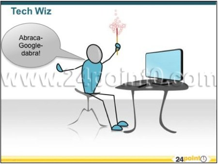 magic of technology - tech wizard graphic for PPT - editable business and technology graphics for PowerPoint - technical wizard illustration