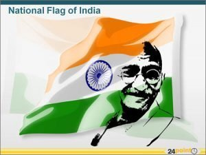 Flag of India in color with Gandhi sketch editable in PPT