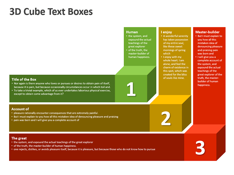 3D Cube Text Box for Business Presentation PowerPoint - Stages