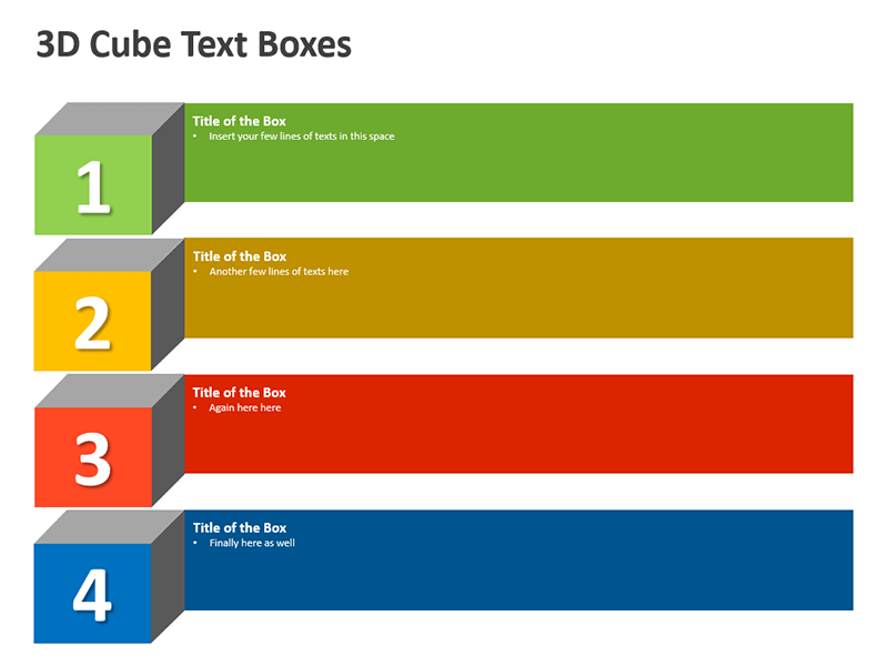 3D Cube Shaped Text Boxes - PPT Slide