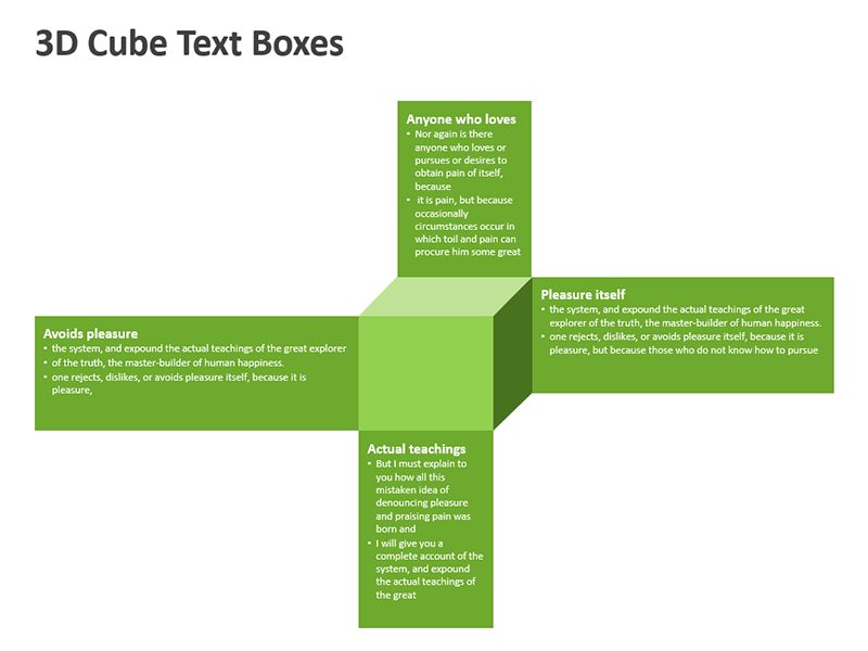 3D Cube Text Boxes - PPT Slides