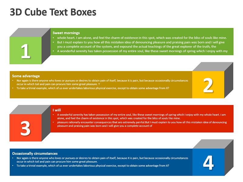 3D Cubes with Text Boxes - PowerPoint Slides