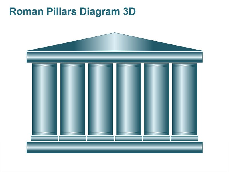 Roman Pillars Diagram - PowerPoint Slides