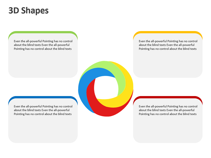 3D Shapes with Text Boxes - PowerPoint Slide