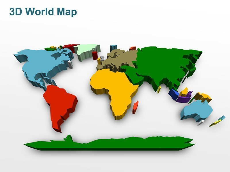 Editable PowerPoint Slides with Illustration of 3D World Map Multi-Colored Continents