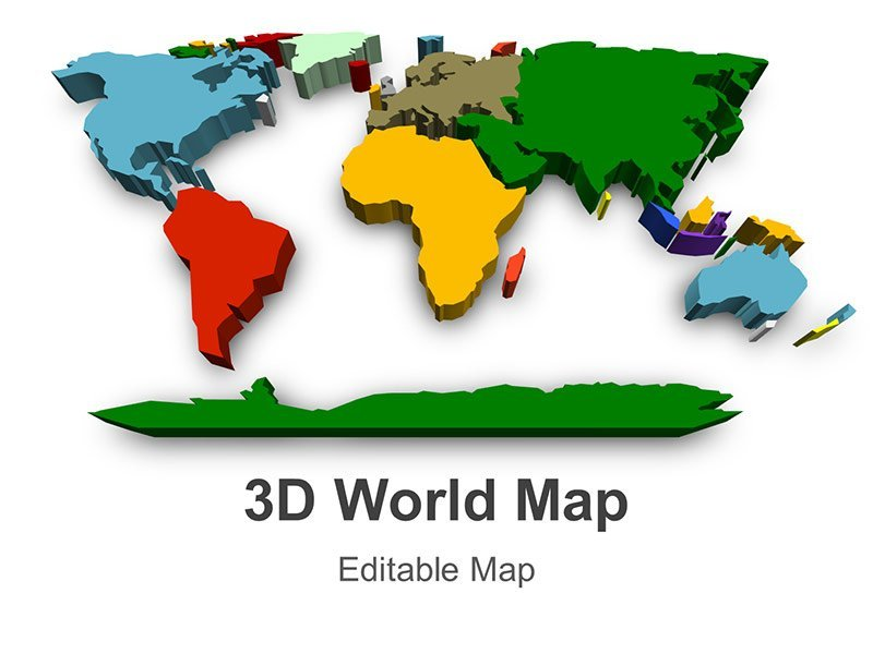 Editable 3D World Map PowerPoint Presentation Template