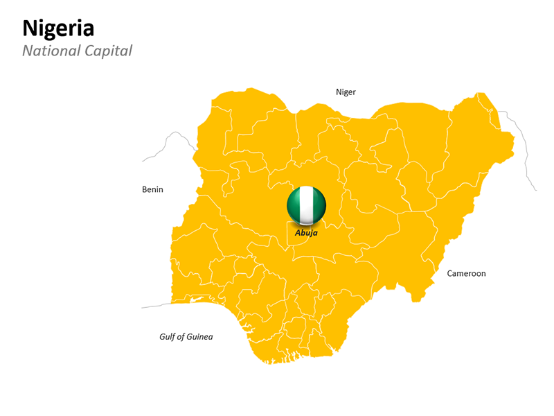 Nigeria with National Capital Abuja - Editable PowerPoint Slide