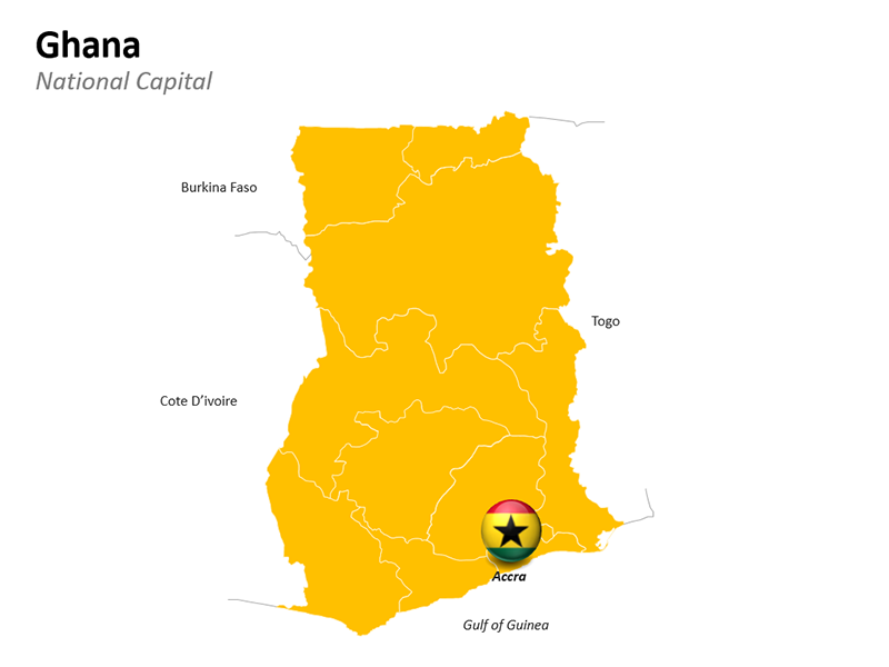Ghana Map with National Capital Accra - Editable PowerPoint Slide