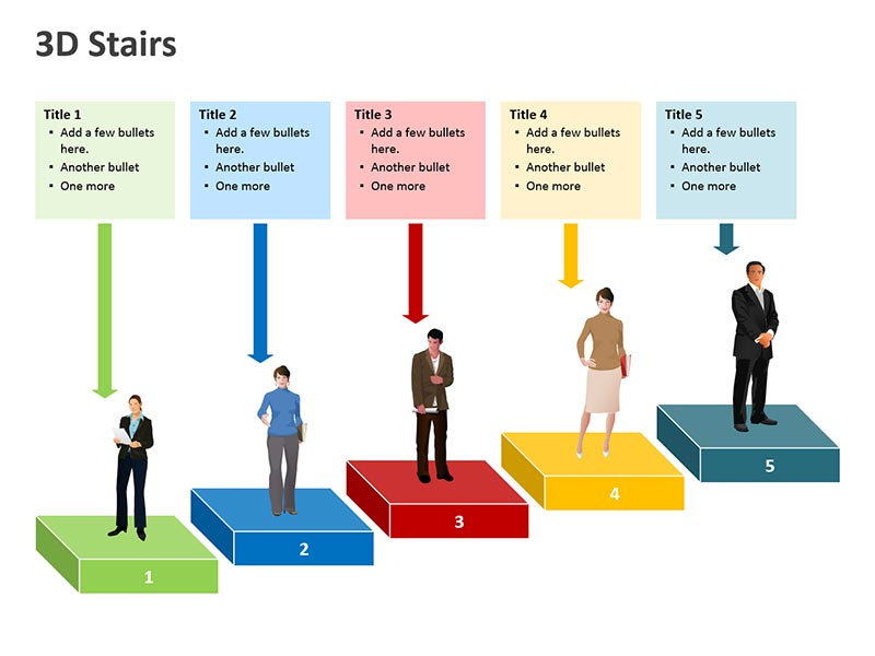 3D Stairs Diagrams PPT Slides