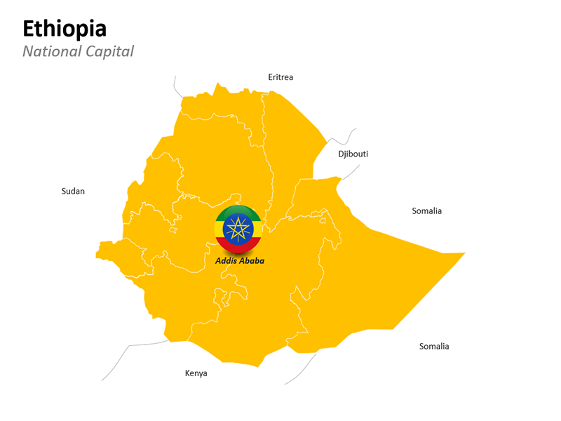 Ethiopia Map with National Capital Addis Ababa - Editable PowerPoint Slide