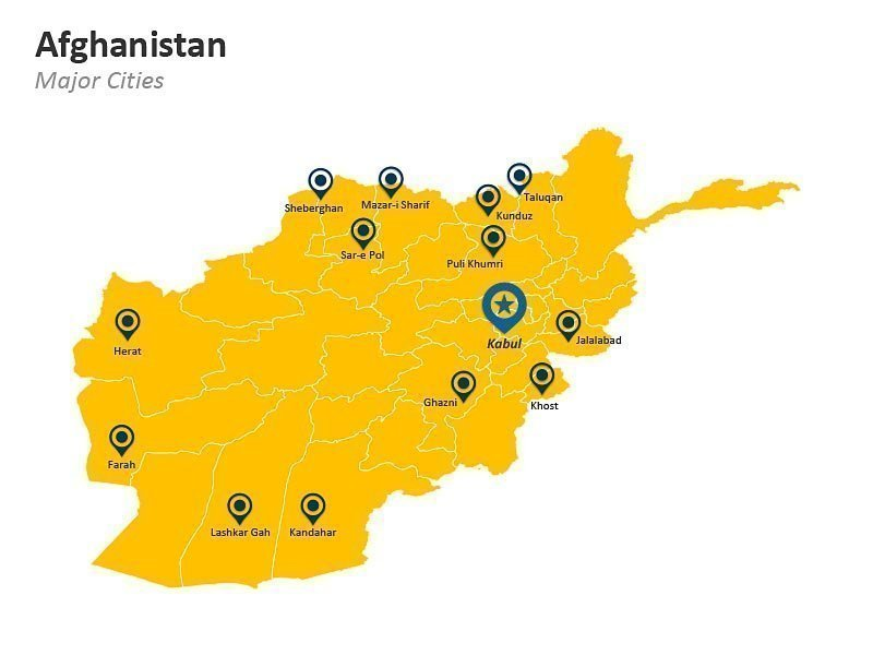 Major Cities of Afghanistan on PPT Map