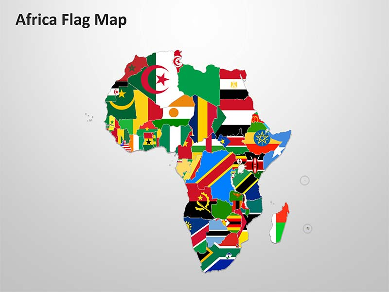 Africa Flag Map - Editable PowerPoint Image