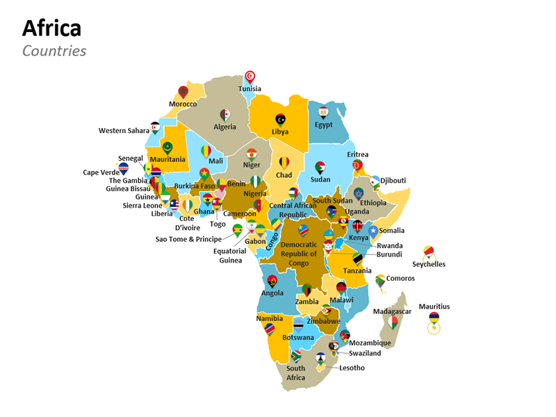 African Countries Map with Capital - PPT Slide