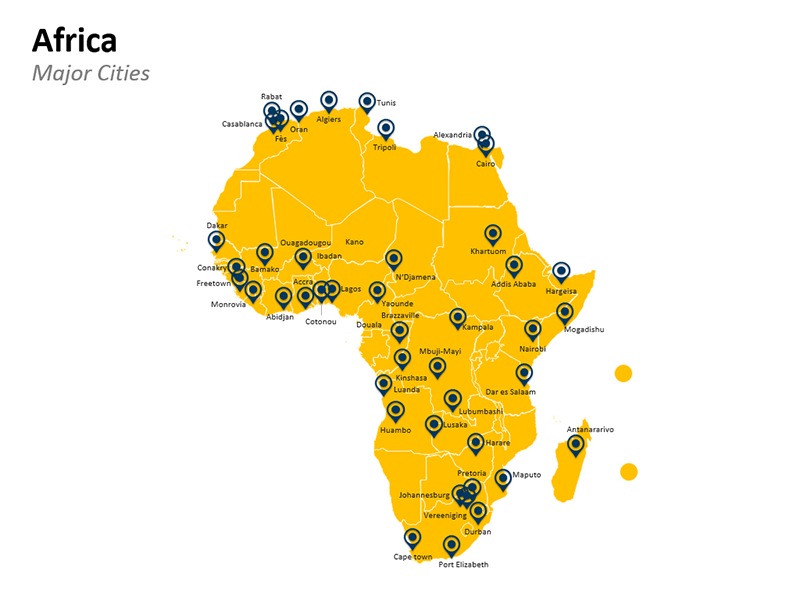 Africa Map with Major Cities - Editable PPT Slide
