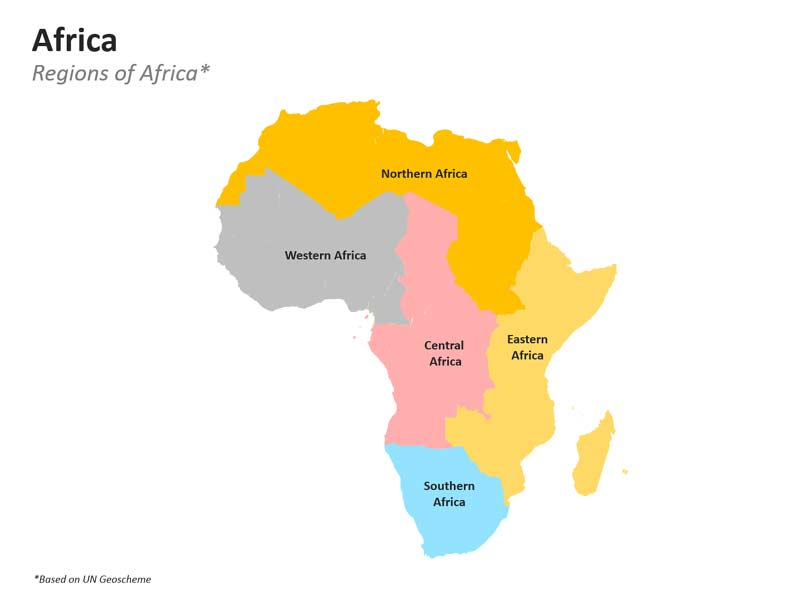 Regions of Africa Map Outline PPT Slide