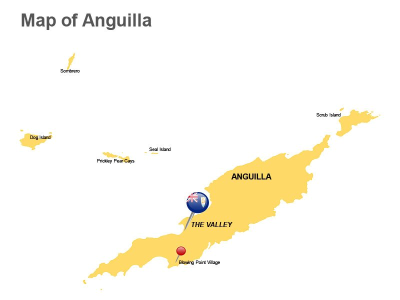Anguilla Major Cities PowerPoint Map