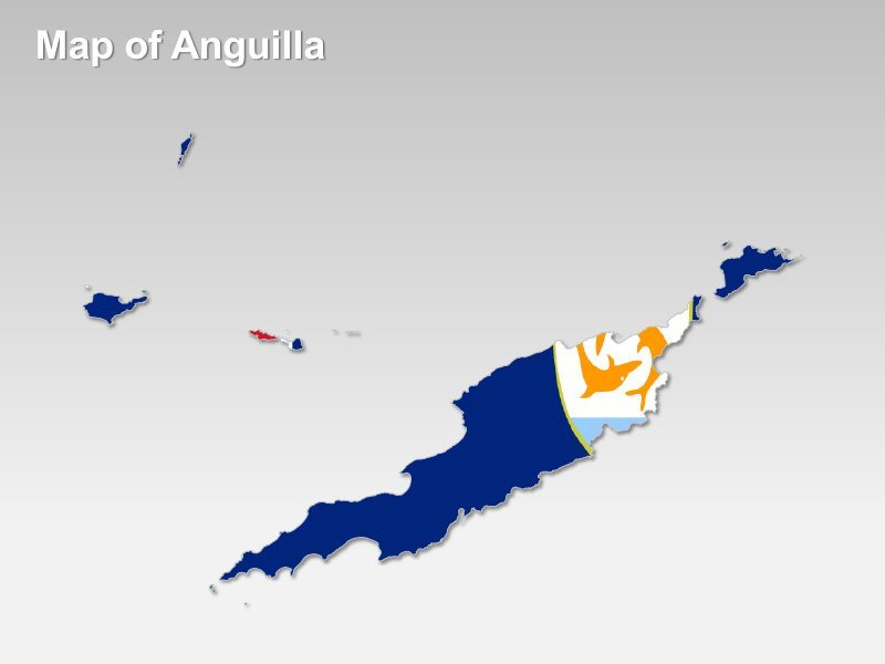 Anguilla National Flag Themed PPT Map