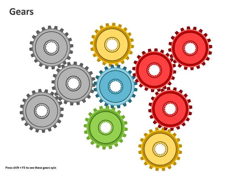 Gears Diagram Editable PowerPoint Animated Slide