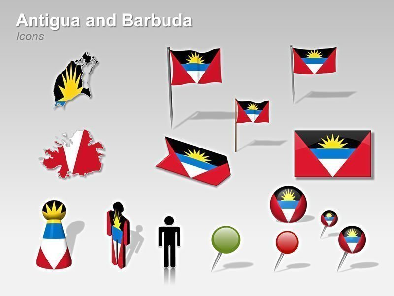 PowerPoint Flag Cliparts - Antigua and Barbuda