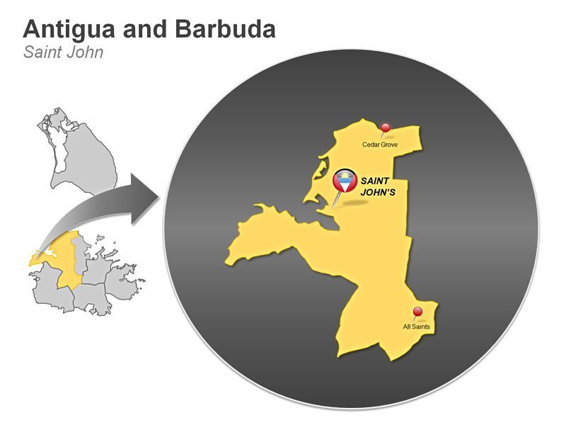 Antigua and Barbuda PPT Map - Saint John