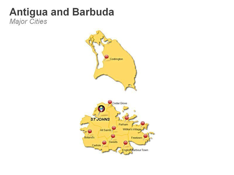 PPT Slide on Antiqua and Bermuda Cities Map