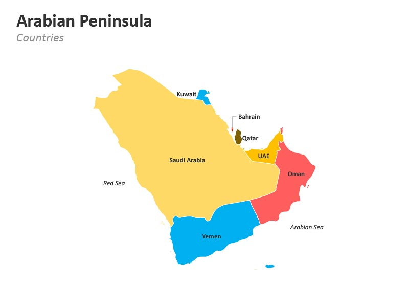 Arabian Peninsula Map with Countries PowerPoint Slides