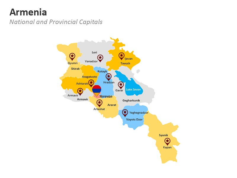 Armenia PPT Slide Map - Provincial