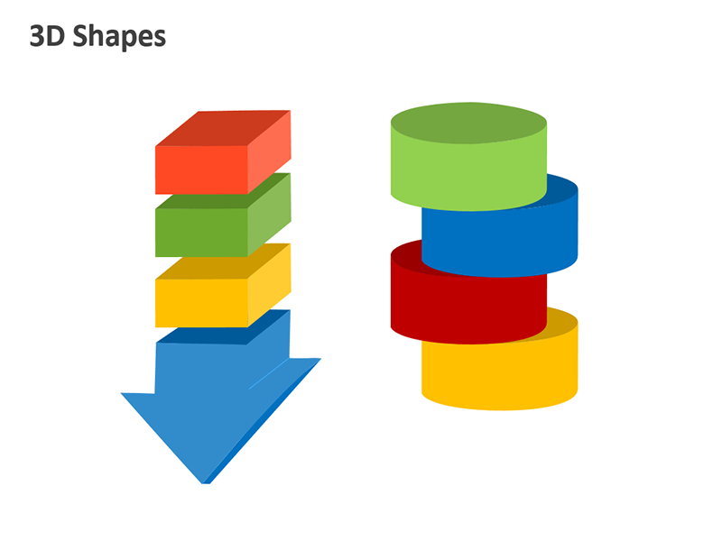 Arrow Process 3D Shapes - Editable PPT Slide