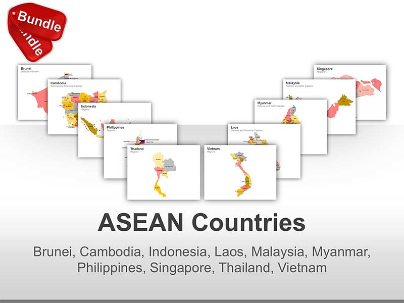 Editable PPT Maps - ASEAN Countries (Brunei, Cambodia, Indonesia, Laos, Malaysia, Myanmar, Philippines, Singapore, Thailand and Vietnam)