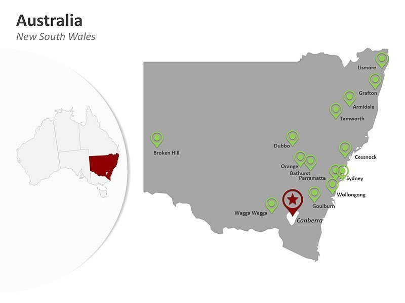 PPT Map of Australia New South Wales