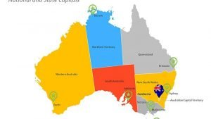 Australia PPT Map - National and State Capitals