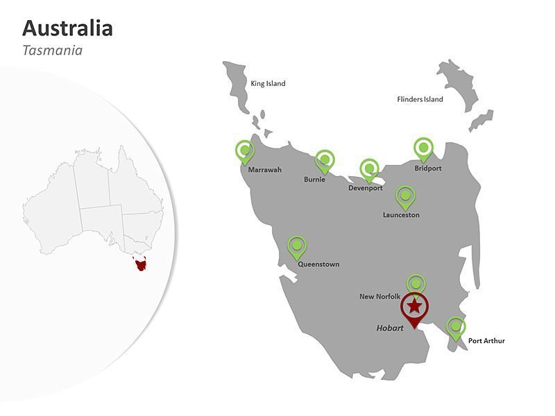 Australia PowerPoint Map Tasmania