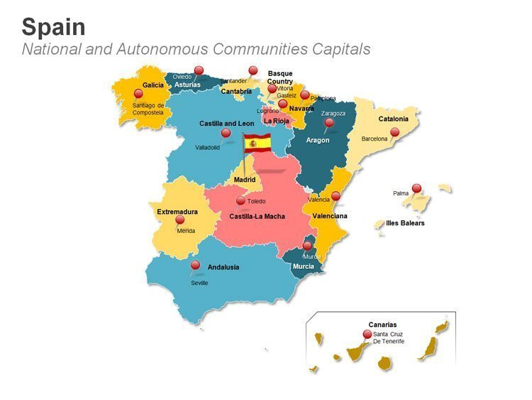 Spain National Capital Madrid PPT Map