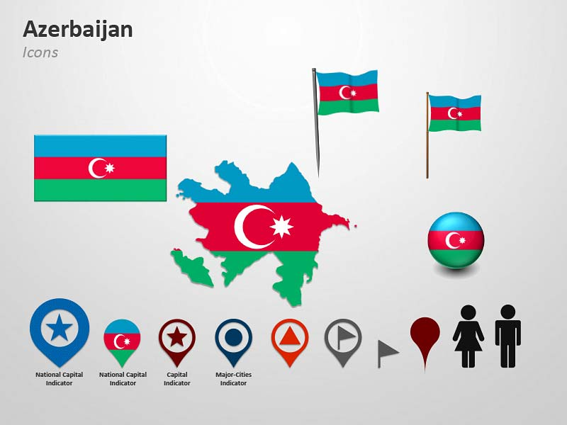 Azerbaijan National Flag-Themed Icons PPT