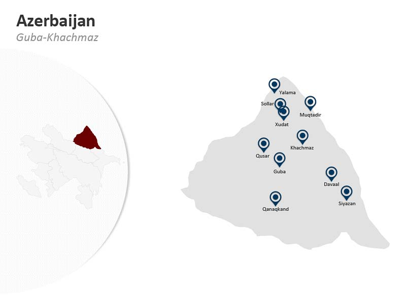 PPT Map of Azerbaijan - Guba Khachmaz