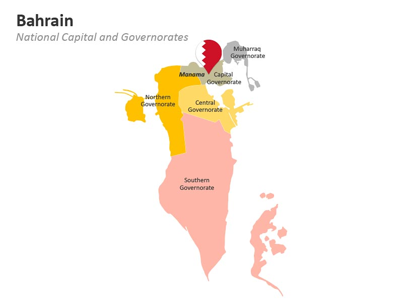Administrative Divisions of Bahrain PowerPoint Map
