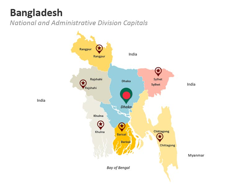Bangladesh National and Administrative Division Capitals PPT Map