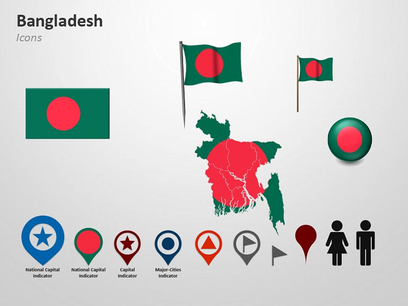 Map and Flag Icons of  Bangladesh PowerPoint Cliparts