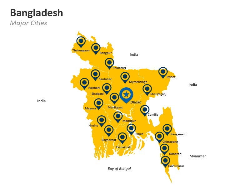 Major Cities in Bangladesh PPT Map