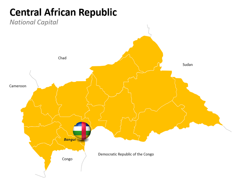 Central African Republic Map - Editable PowerPoint Slide