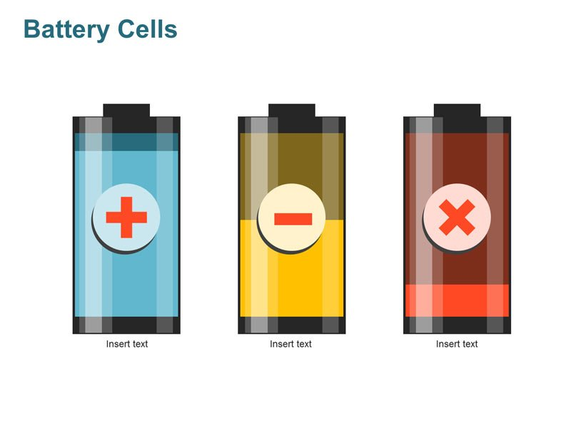 Battery Cells showing Pros and Cons - Business PPT Diagram
