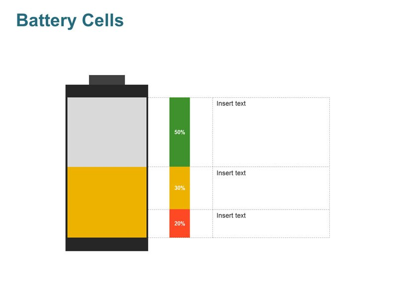 Battery Cell Showing Charge Level PPT Diagram