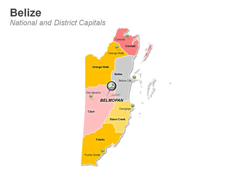 Belize National and District Capitals Map PPT