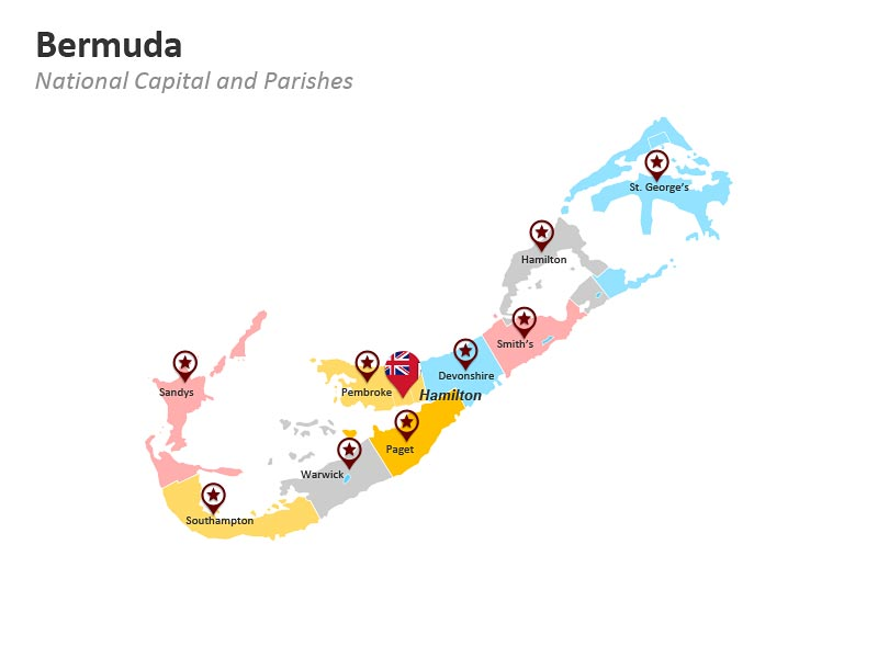 Bermuda Parishes Map PowerPoint Slide