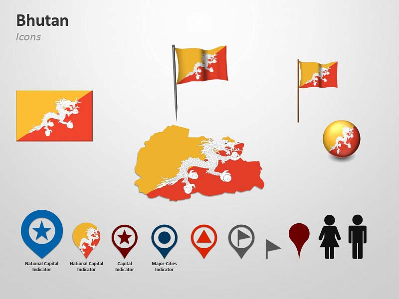 Map and Flag Icons of Bhutan PPT Cliparts