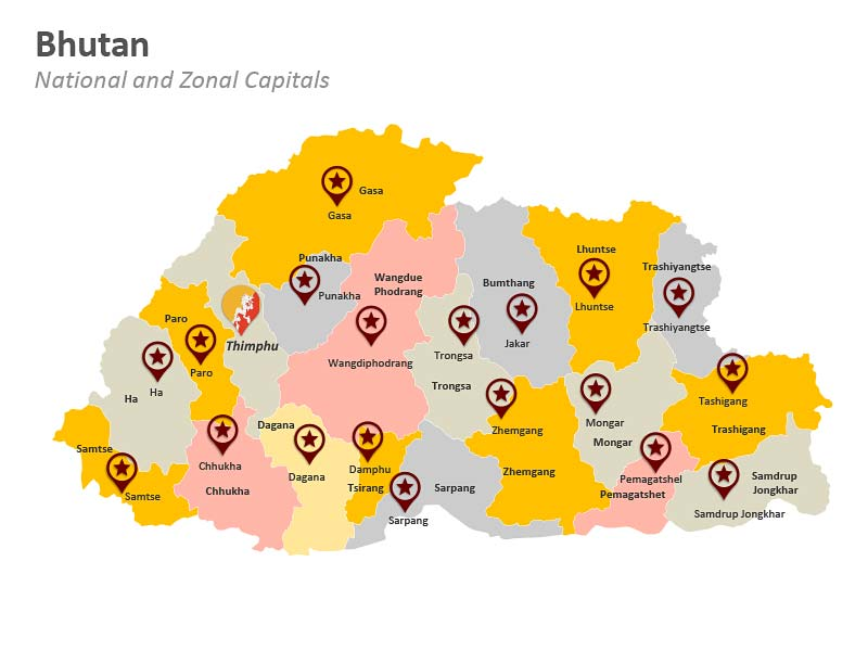 Zonal Capitals of Bhutan PPT Map